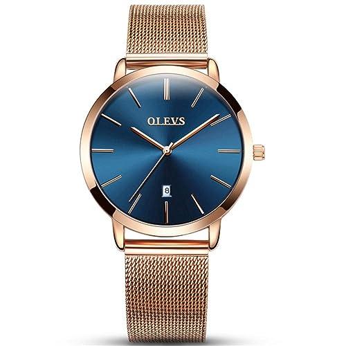 OLEVS Women Ultra Thin 6.5mm Quartz Rose Gold/Black Mesh Steel Wrist Watch with