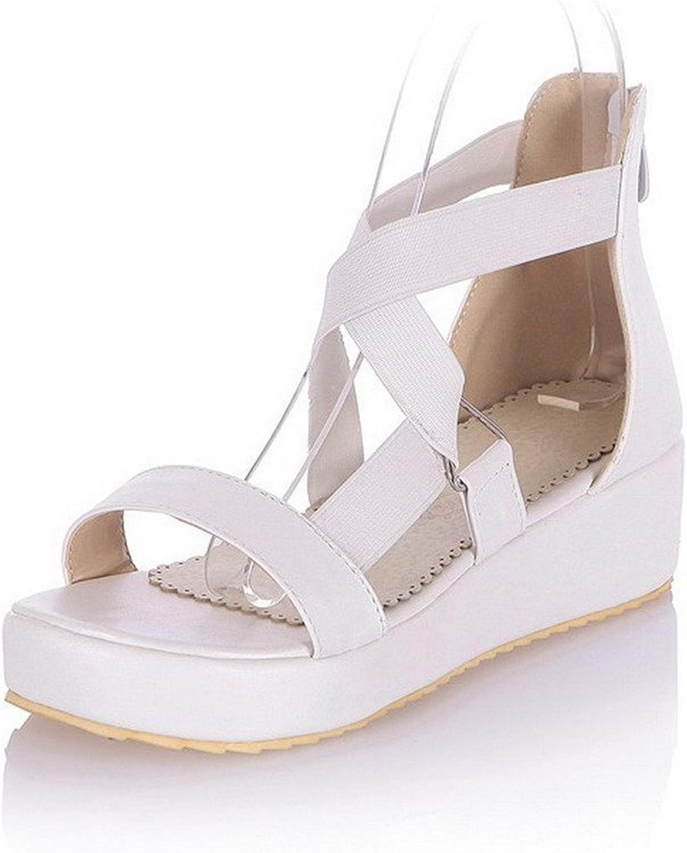 Ompson Women's Zipper Open Toe Kitten Heels PU Solid Platforms & Wedges