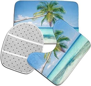WXZQNN Alfombras De Baño Antideslizantes Juego De 3 Piezas Alfombras De Baño De Palmera De Playa + Cubierta De Asiento De Ino