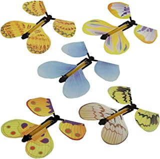 BISOZER Magic Fairy Flying Butterfly Rubber Band Powered Wind up Butterfly Toy for Surprise Gift or Party Playing (Random)