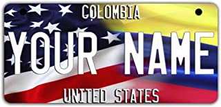 BleuReign(TM Personalized Custom Name Mixed USA and Colombia Flag Motorcycle Moped Golf Cart License Plate Auto Tag