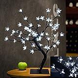 Lámpara de mesa de la flor de cerezo de la luz del árbol de los bonsais, 0.45M / 1.5FT 48LED flexible ramifica la luz del árbol para el hogar / festival / decoraciones de la Navidad (Blanco Cool)