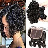 Aliglossy Brazilian Virgin Hair Funmi Hair With Closure Short Bob Weave Hairstyles Bouncy Curly Weave With Closure 100% Unprocessed 8A Hair Extensions Human Hair Natural color 100g/PC(8 10 12 with 10)