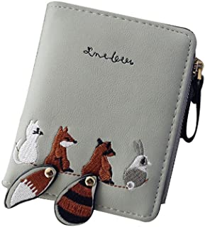 Women's Animal Pattern Leather Bifold Zip Pocket Wallet Credit Card Holder Organizer Purse Cute Retro Clutch Handbag with Wristlet