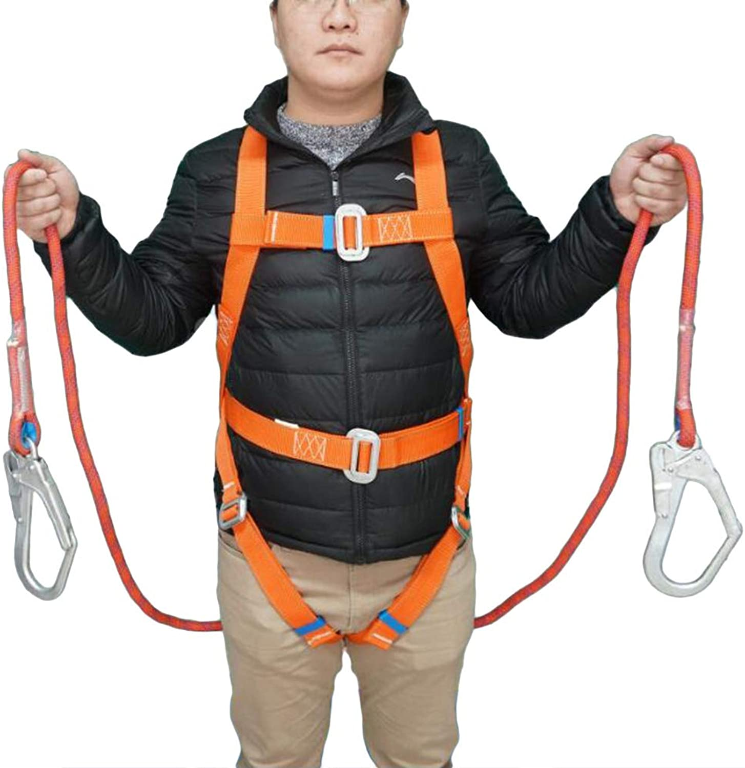 LIOOBO 1.8m High Altitude Operation Outdoor Safety Belt Safety Zone Suspenders Dual Rope Rock Climbing Safety Belt Anti Falling Predection Electrical Work Safety Belt with Cushion Bag (orange)