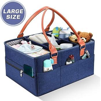 YOUTHINK Bebé Pañales Caddy Cesta de Almacenamiento Bolsa Plegable Organizador Fieltro con 5 Separador Desmontable y 10 Bolsillos Invisibles para Recién Nacido Coche Viaje