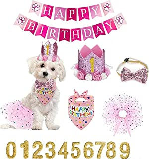 Falwela Dog Birthday Party Supplies Decoration - Pet Puppy Party Supplies Scarf Hat, Tutu Skirt Crown Bow Tie 0-9 Figure Pet Happy Birthday Triangle Scarf Banner for Pet Puppy Dog Cat Girl (Pink)