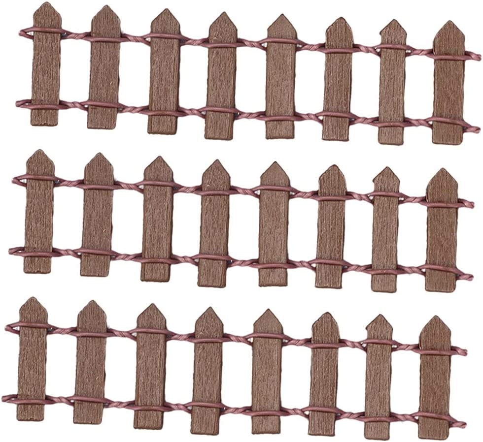 Newmind 3Pcs DIY Dollhouse Garden Accessorie Ornament Wood Fence Selling service