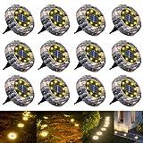 WOWDSGN 8 LED IP65 Luz de suelo solar a prueba de agua al aire libre para jardín, patio, césped,...