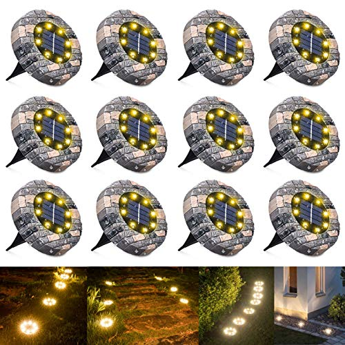 WOWDSGN - 8 LED Luz Solar Jardin, Luces Solar de Tierra, IP65 Impermeable, Blanco Cálido, Luz Solar Exterior para Camino y Jardin (12 paquetes)