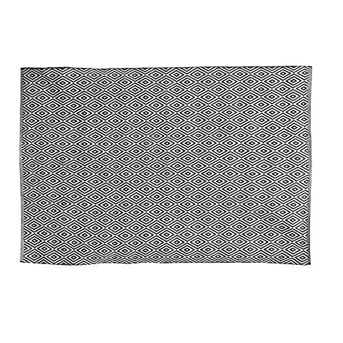THE HOME DECO FACTORY HD5011 Tapis, Coton, Noir Blanc, 200 x 140 x 0,5 cm