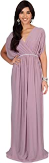 KOH KOH Womens Long Dolman Sleeve Wrap V-Neck Maternity Bridesmaid Maxi Dress