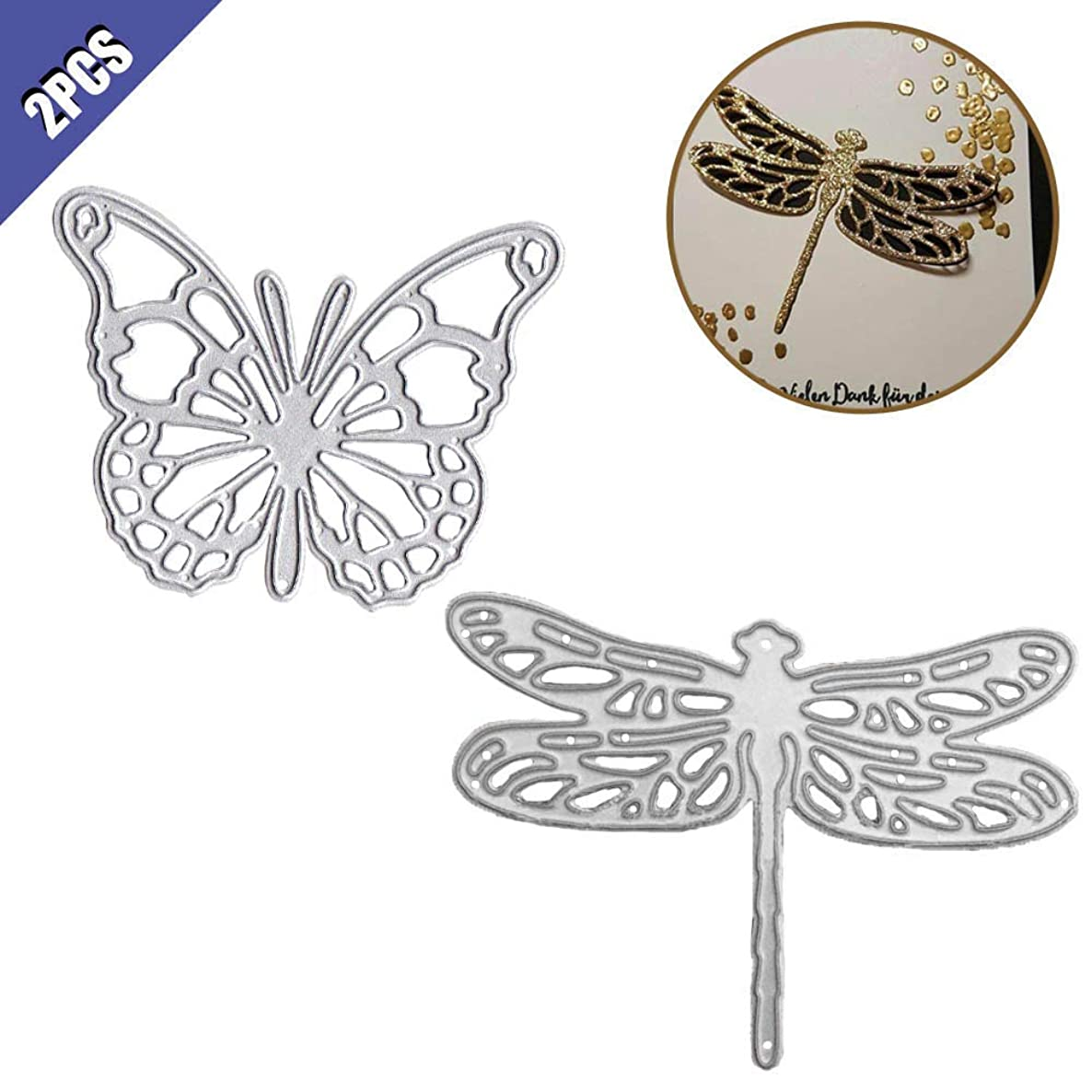 Comidox Butterfly Dragonfly Cutting Dies Stencils DIY Scrapbooking Decor Embossing Album Post Card Making Paper Craft 2Pcs