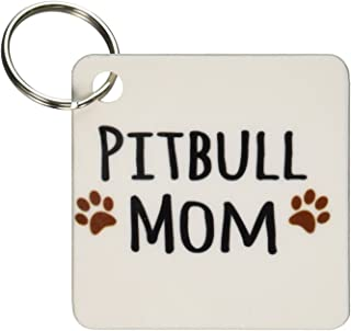 3dRose Pitbull Dog Mom - Doggie by breed - muddy brown paw prints - doggy lover - Key Chains, 2.25 x 2.25 inches, set of 2 (kc_154172_1)