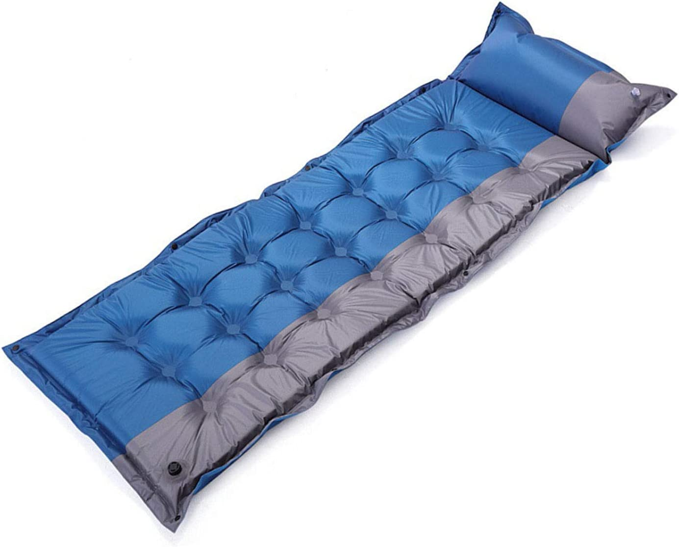 Camping Sleeping Pad Inflatable Camping Mat with Pillow for Backpacking,Traveling,Hiking,Durable Air Mattress Compact (Blue,185×60×2.5cm)