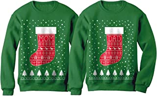 Mom and Dad Xmas Stocking Ugly Christmas Matching Couple Set Holiday Sweatshirts