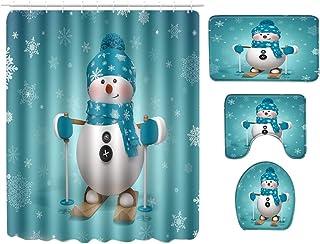LaoZan Uroczy zestaw do dekoracji łazienki z nadrukiem Boże Narodzenie zasłona prysznicowa pochłaniająca wodę antypoślizgo...
