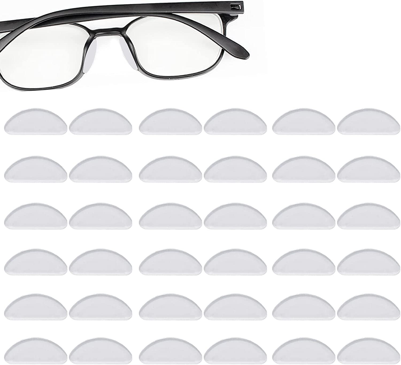 Clyhon 20 Pares de Gafas Almohadillas de Nariz de Silicona Almohadillas Adhesivas Antideslizantes, Protector de Nariz de Gafas Vasos Adhesivos de para Gafas Gafas de Sol (1.5mm Transparente)