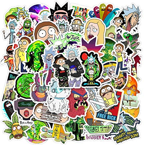 BUCUO Cartoon Anime Rick and Morty Stickers Waterproof Skateboard Travel Suitcase Mobile Phone Laptop Suitcase Sticker Cute Kids Toy 50Pcs