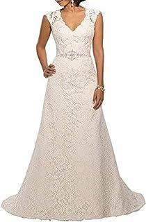 216a2ea33035 YIPEISHA V Neckline A Line Cap Sleeve Lace Over Satin Wedding Dress