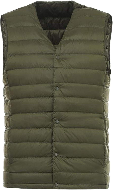IGJMOD Men Down Vest Ultra Light Down Vest Portable V-Neck Coat Man Winter Warm Liner ArmyGreen XL