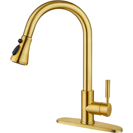 SOKA Gold Kitchen Faucet Pull Out Kitchen Faucets Gold Single Handle Kitchen Sink Faucet with Pull Down Sprayer 3 Hole Kitchen Faucet for RV Utility Sink Faucet for Laundry Sink Stainless Steel