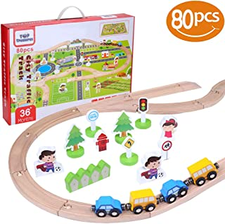 80 Piece Wooden Train Set | Includes Toy Trains, Play Mat & More Wooden Toys Accessories| 100% Compatible with Thomas Wooden Railway & Brio Train Set | Wooden Toy Train Set (80pcs)