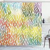 ABAKUHAUS Blätter Duschvorhang, Funky Blumen Bunt, Waschbar & Leicht zu pflegen mit 12 Haken Hochwertiger Druck Farbfest Langhaltig, 175 x 180 cm, Multicolor