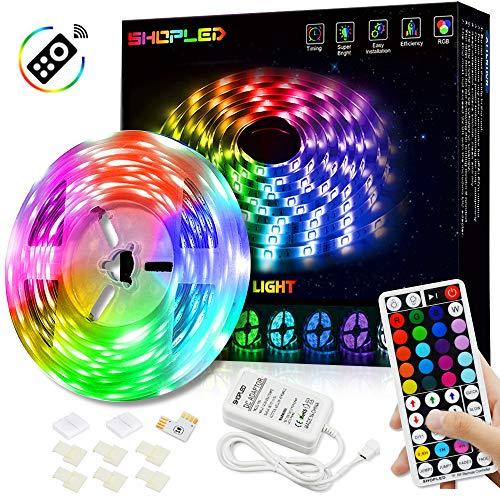 SHOPLED Striscia LED 5M Luci Led Colorate Autoadesiva Led Light Strip con 44 Tasti Telecomando Luminosità Regolabile Nastri Led Retroilluminazione Striscia Luminosa a LED con 20 Colori & 4 modalità