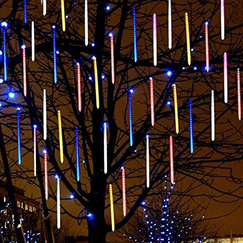 SAMTITY Meteorschauer Lichter, Wasserdicht Spiralig 8 Tubes Meteor Lichterkette, LED Lichterkette, Meteorschauer Regen Lichter für Weihnachtsdekoration, Garten, Aussen und Party