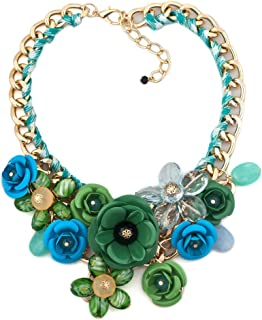 Flower Floral Statement Necklace Chunky Pendant