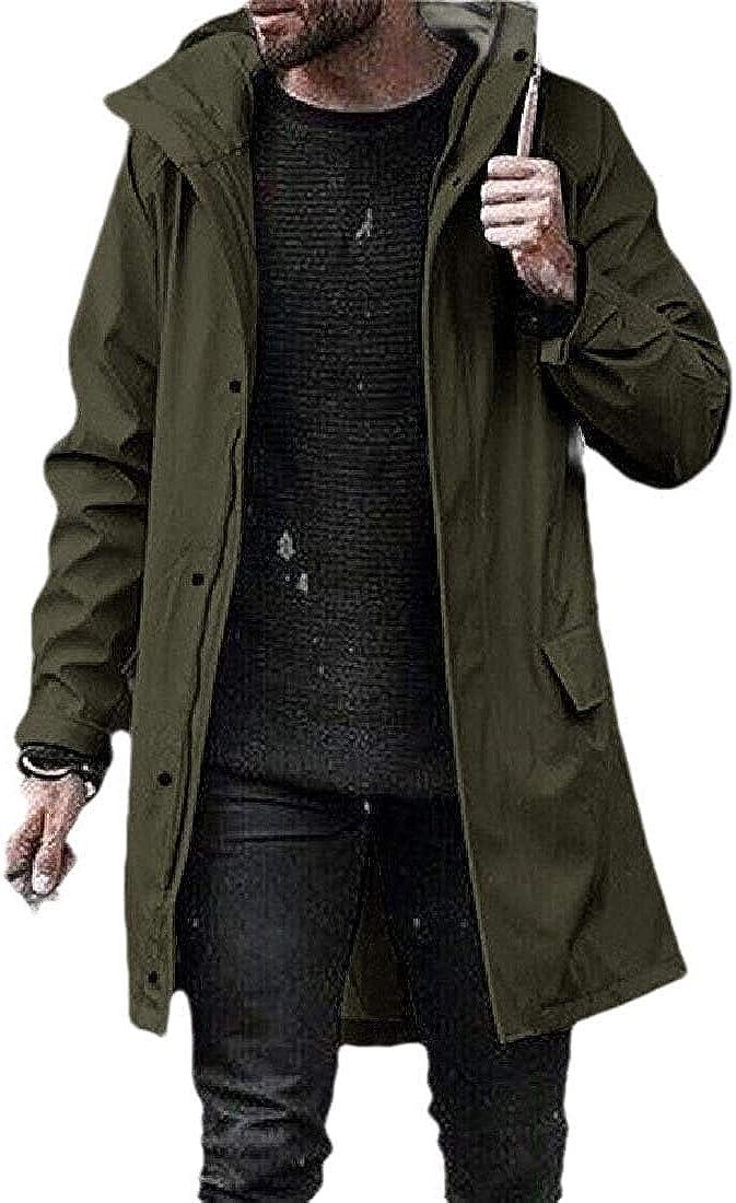 Mens Rain Jacket Outdoor Long-Sleeve Watertight Lightweight Hoodie Trench Coat
