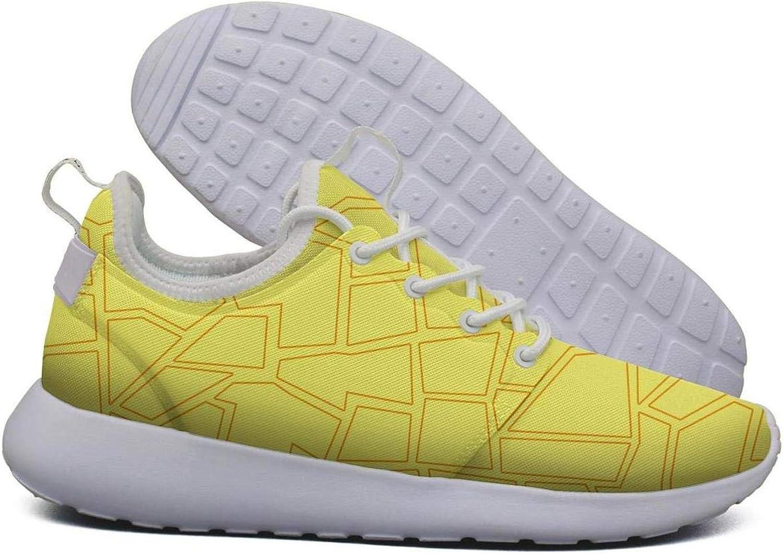 Hoohle Sports Womens Yellow Giraffe Skin Print Flex Mesh Roshe 2 Lightweight Print Running Sneakers shoes