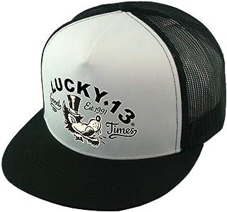 Lucky 13 Unisex Trucker Cap Black White Mr. Wolf
