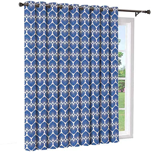 Toopeek Marine Room partition Curtain Wall partition,Harmonized Pattern of Upside Down Stylized Pecten Raveneli Seasheels Sliding Curtains(Single Panel) W100 x L108 Inch Violet Blue Pale Peach