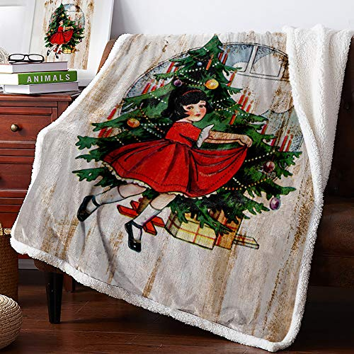 Double Love Sherpa Soft Throw Blanket Christmas Red Skirt Girl with Wood Grain - Fuzzy Luxurious Blanket for Bed Couch Sofa Outdoor Travel | Best Caring Gift for Children Adult Parent 60x80Inches