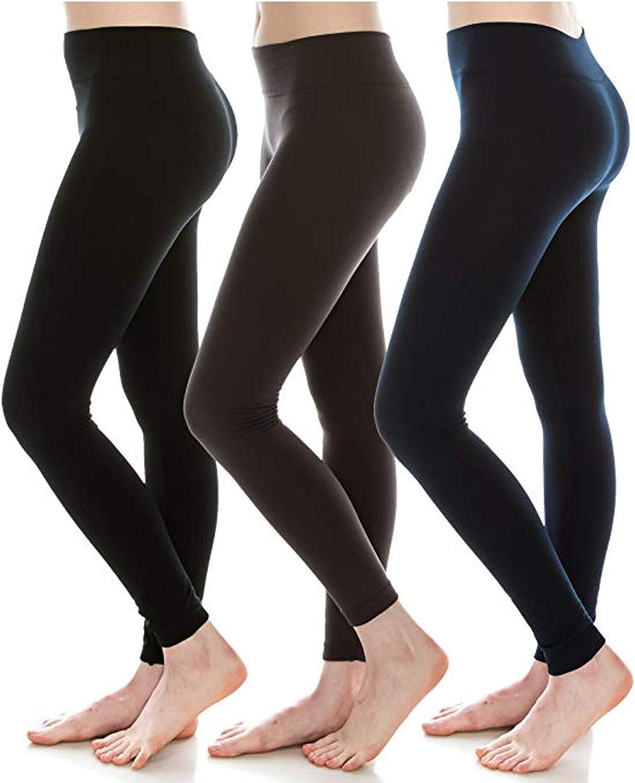 Diravo leece Lined Leggings for Women,High Waist,Ankle Length,Winter Warm Leggings (3pack(1black 1grey 1navy))