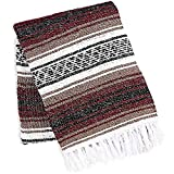Zulay Home Authentic Mexican Blankets - Hand Woven Yoga Blanket & Outdoor Blanket - Artisanal Boho Blanket & Mexican Falsa Blanket for Beach, Picnic, Camping, or Home Throw Blanket (Cherry Brown)