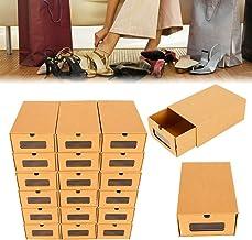 LianDu 20 Unids Juego de Almacenamiento de Zapatos de Papel Marrón Ondulado Caja de Almacenamiento de Cartón Caja de Almacenamiento de Cartón Apilable Caja de Zapatos