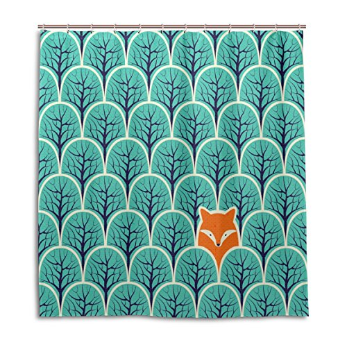 MyDaily Duschvorhang, Motiv: Fuchs im Wald, 167,6 x 182,9 cm, schimmelresistent & wasserfest, Polyester-Dekoration