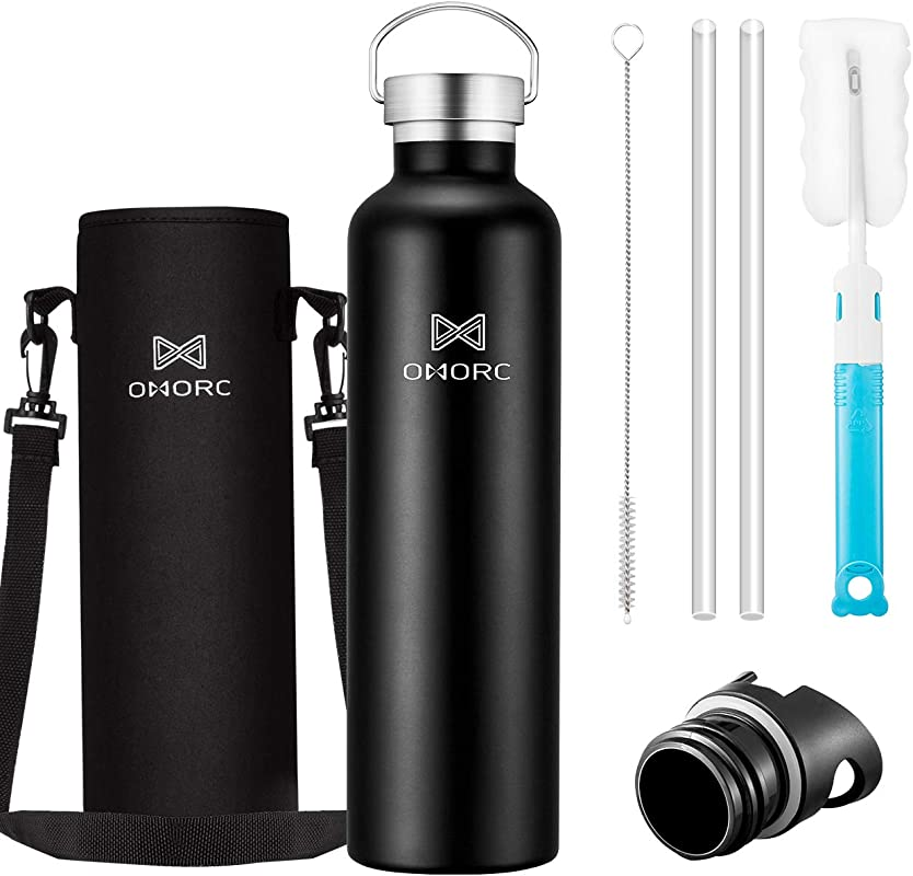 OMORC 316 Stainless Steel Sports Water Bottle 20oz 34oz Double Wall Vacuum Insulated Water Bottle Stay Cold For 48 Hrs Hot For 24 Hrs Straw And 2 Lids Wide Mouth Thermo Travel Modern Mug BPA Free