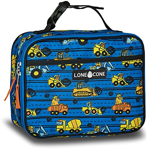 LONECONE Kids' Insulated Fabric Lunch Box - Fun Patterns for Boys and Girls, Construction Monsters, Standa
