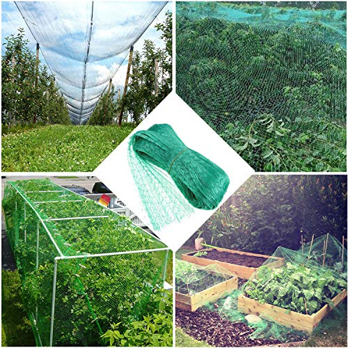 Green Anti Bird Protection Net Mesh Garden Plant Netting Protect Plants and Fruit Trees from Rodents Birds Deer Poultry Best for Seedlings, Vegetables.Fruit,Bushes,Reusable Fencing 13.2Wx33L(Ft)