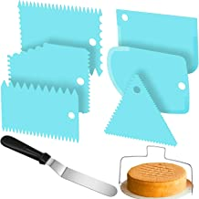 6 Pieces Cake Scraper Smoothers Plastic Cake Edge Smoothers, Double Wire Cake Slicer Leveler and 9 Inch Angled Icing Spatu...