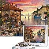Cuteefun Puzzles para Adultos 1000 Piezas Puzzle Paisaje Puzzle Puerto Mediterráneo Puzzle para Niños Descompresión y Regalo