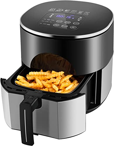 new arrival Air Fryer Oven Oilless Cooker with 9 outlet sale Presets, Stainless Steel Airfryer with LED Touch Screen, Air Fry/Roast/Bake, Preheat and Reheat, popular Nonstick Detachable Basket, Dishwasher Safe, Auto Shut Off online sale