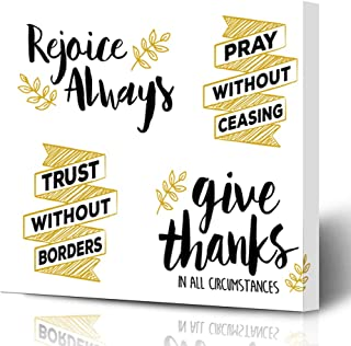 Ahawoso Canvas Print Wall Art 16x16 Inch Fishing Rejoice Always Pray Without Ceasing Give Thanks All Circumstances Bible Scripture Gold Black Modern Artwork Printing Home Decor Wrapp Gallery Painting