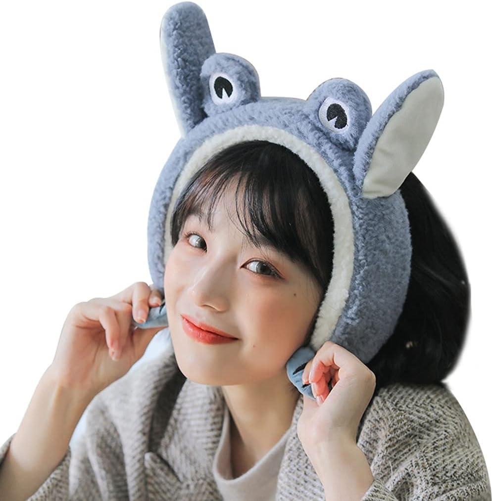 Lnrueg Winter Earmuff Plush Cute Frog Soft Protective Windproof Fluffy Earmuff Ear Warmer with Moving Ear Cover Women