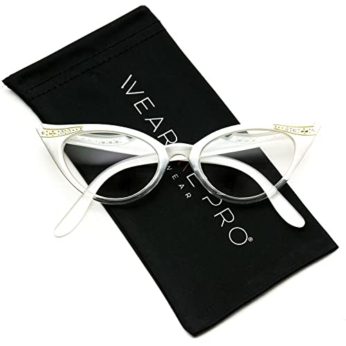 470e05f3b16df Vintage Cateyes 80s Inspired Fashion Clear Lens Cat Eye Glasses with  Rhinestones