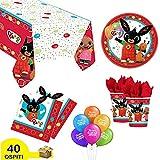 ocballoons Kit Festa Compleanno Bing 40 Ospiti 149pz Tavola Party Addobbi e Decorazioni 40 Piatti 40 Bicchieri 48 Tovaglioli 1 Tovaglia Palloncini 20pz Omaggio Set addobbi Decorazioni per Feste